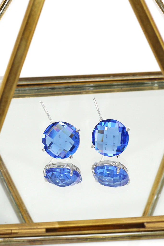 simple lattice crystal earrings