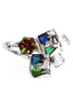 multi-color square crystal silver ring