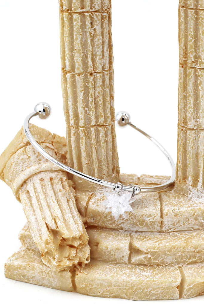 Fashion white crystal opening silver bracelet
