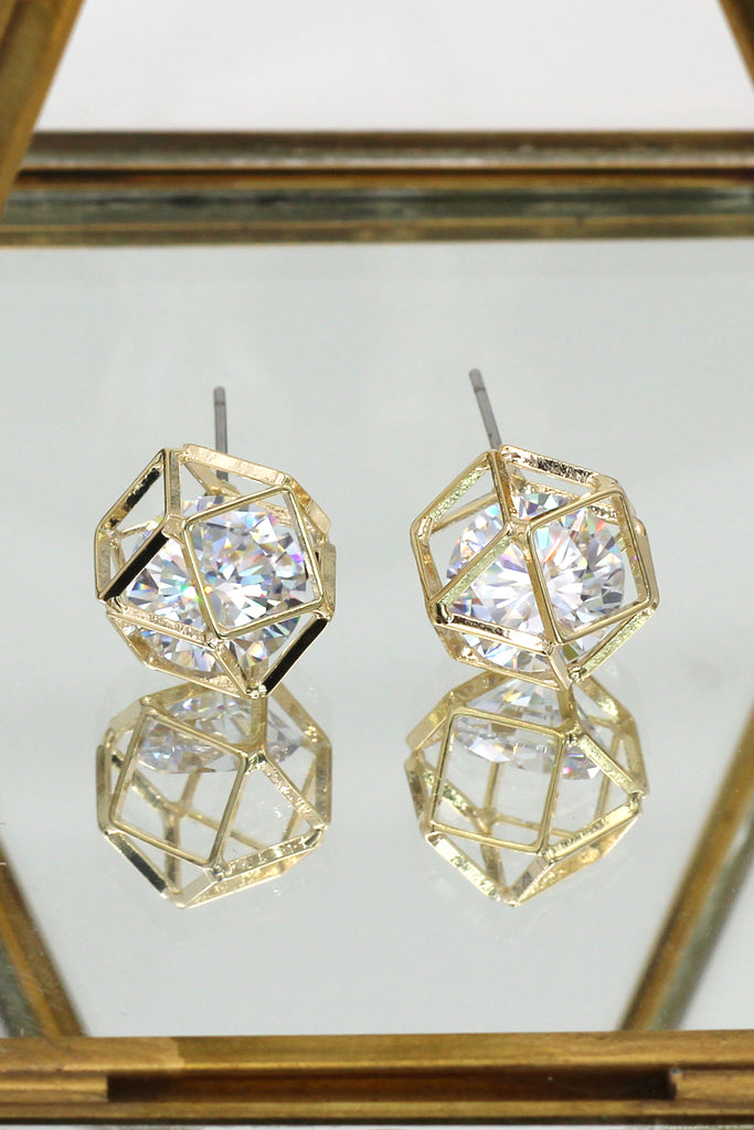 Small globular crystal earrings