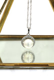 large pearl inlaid crystal side silver necklace