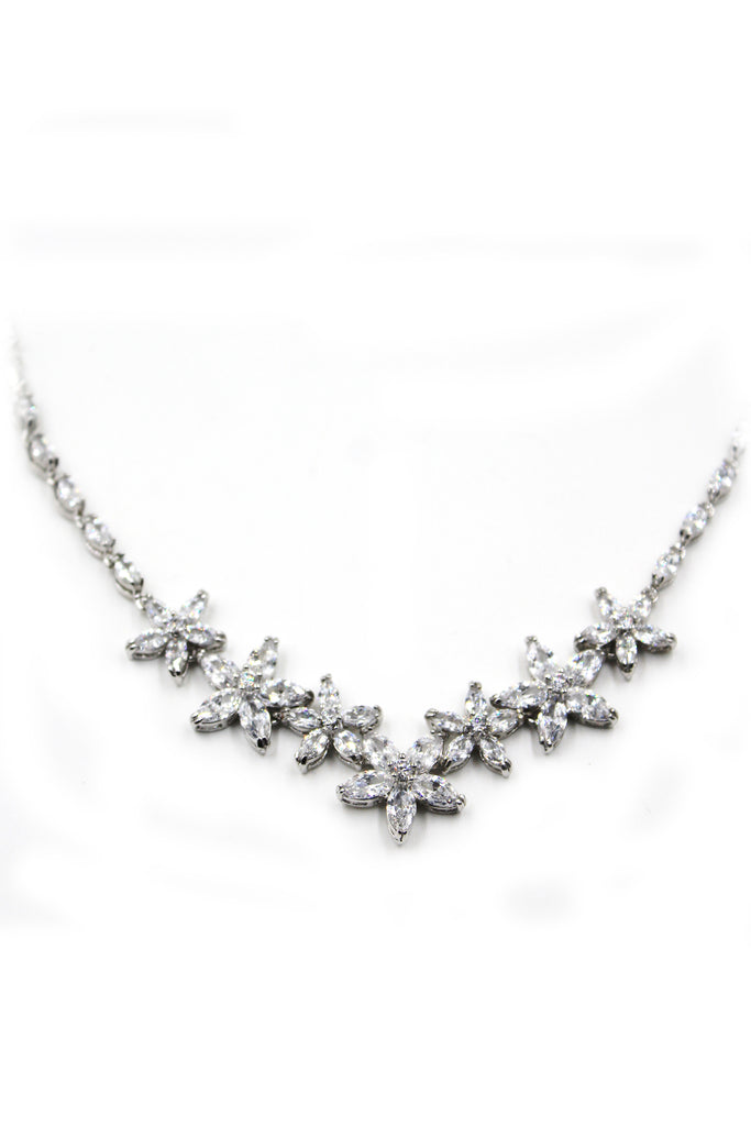 silver crystal flower necklace