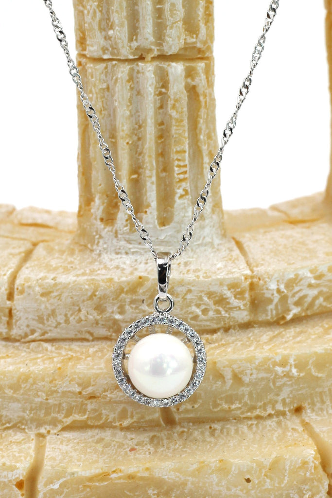fashion silver crystal pearl necklace earring set