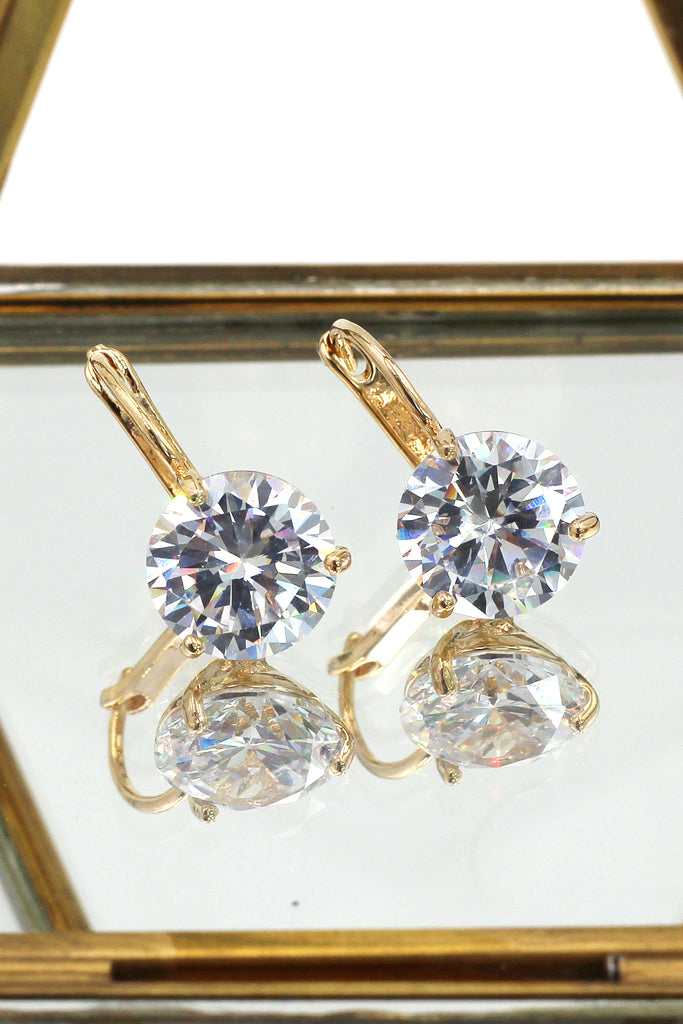 fashion three claw crystal studs earrings