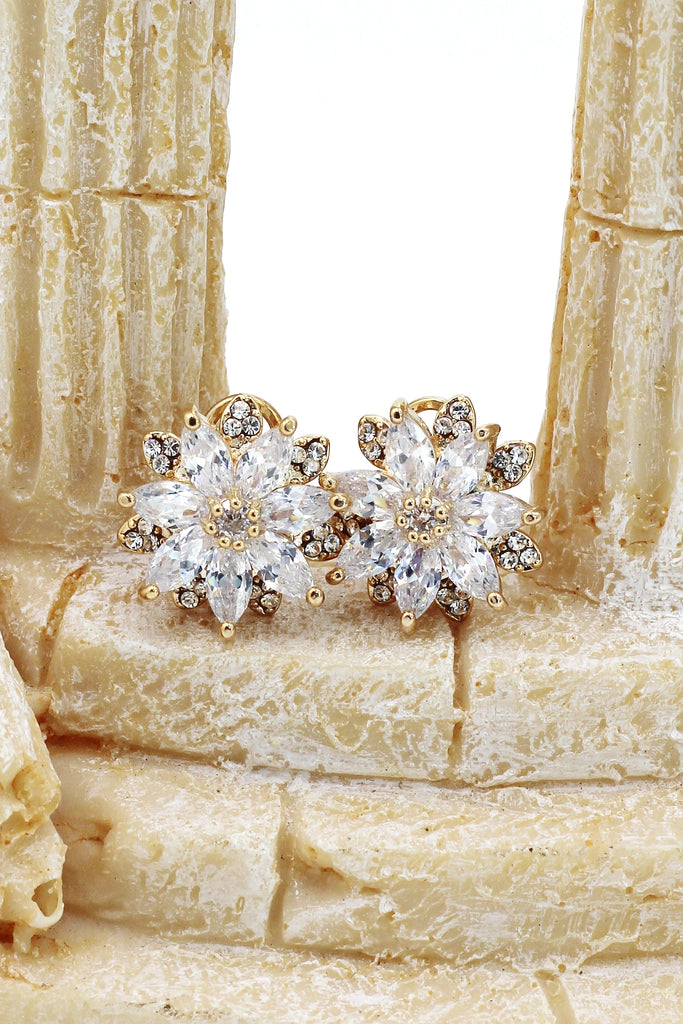 fashion flowers crystal ring earring set