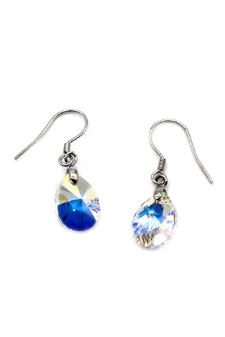 shining crystal round silver earrings