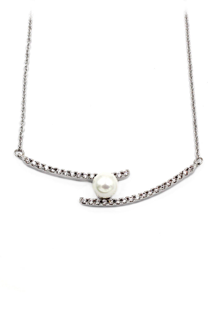 simple style crystal and pearl silver necklace