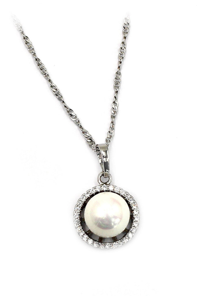 white pearl crystal ring necklace set