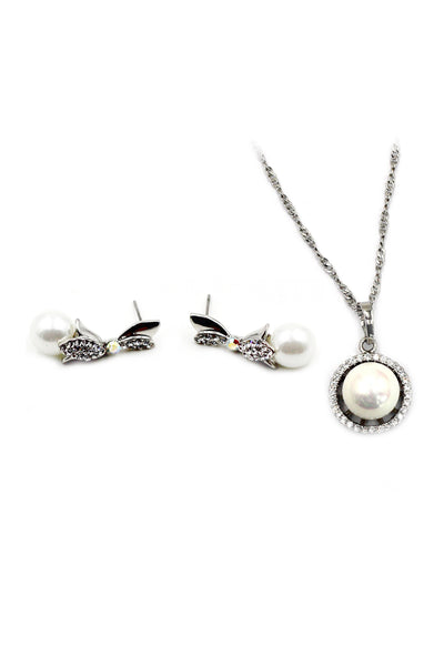 lovely crystal pearl earrings necklace set