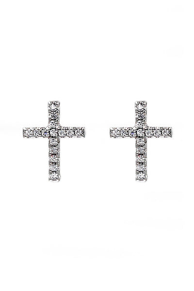 micro-set crystal cross earrings