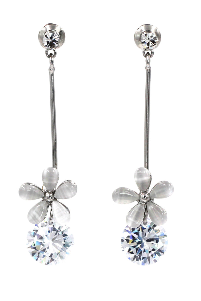 pendant flower crystal earrings