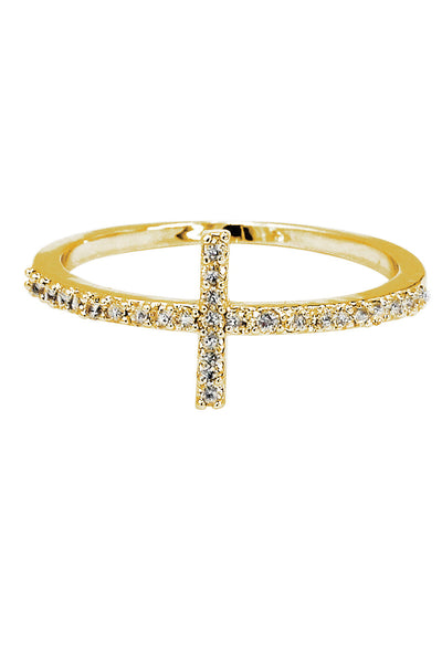 micro-set crystal cross silver ring