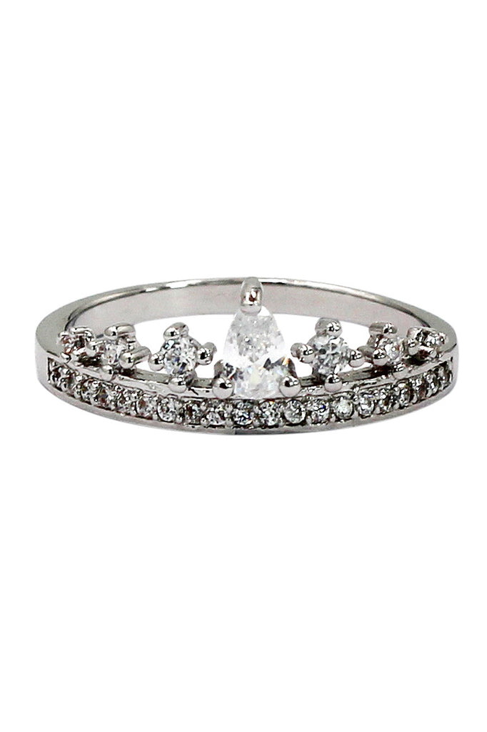 fashion mini crystal crown silver ring