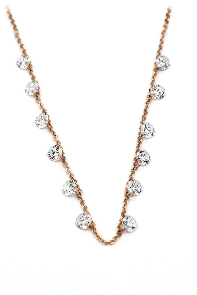 small crystal fine chain necklace