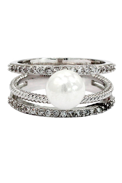 fashion loop small crystal and peal silver ring