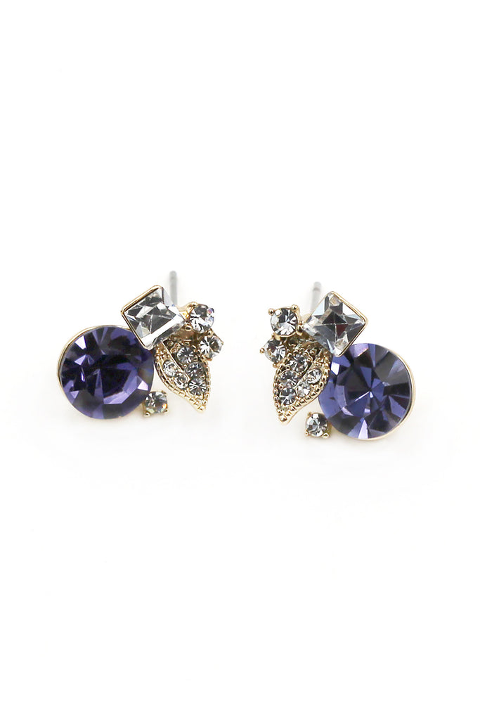 Purple mini style crystal earrings