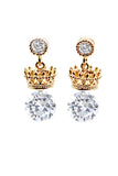 shiny crown crystal earrings