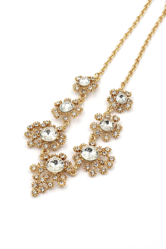 noble golden flower crystal necklace earrings set