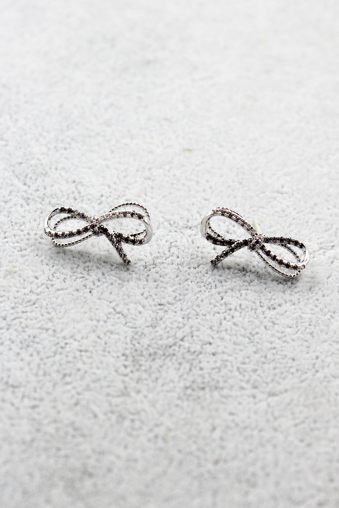 silver crystal bow earrings