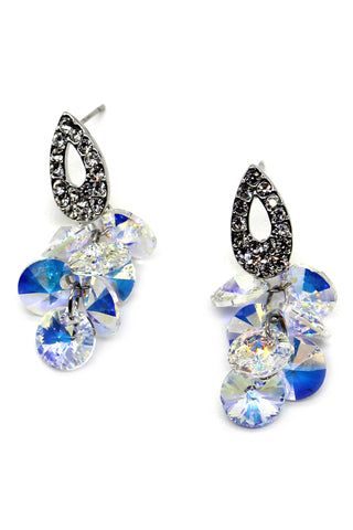 elegant colorful crystal golden earrings