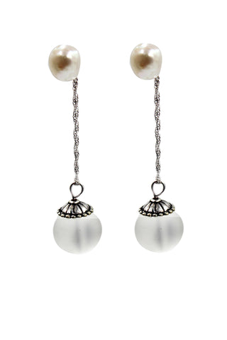silver shell drop earrings