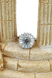 shining crystal sun silver ring
