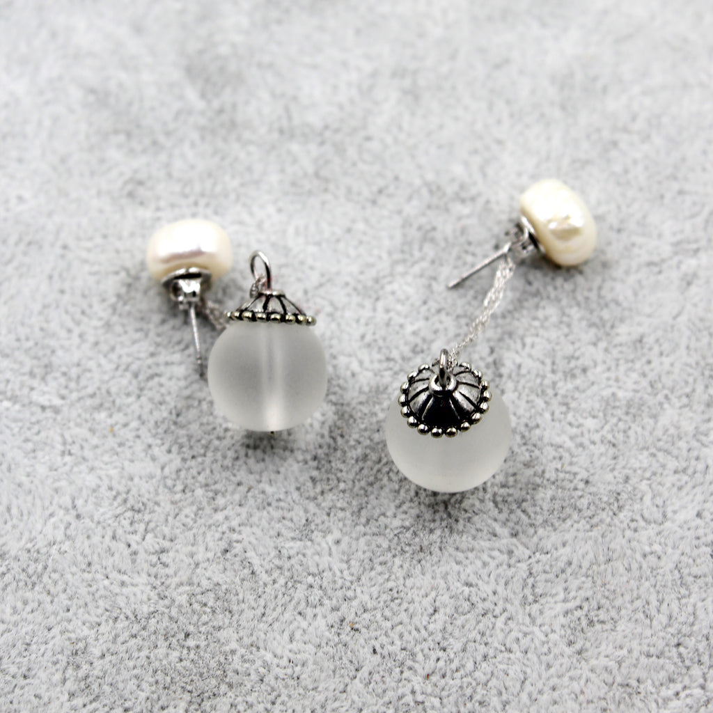 simple crystal ball earrings