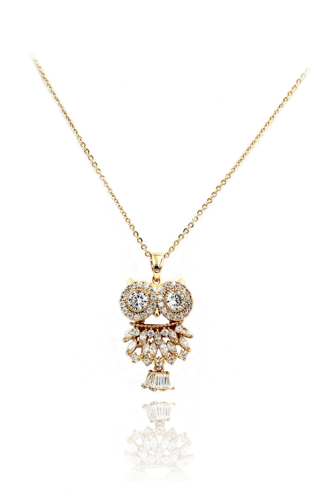 gold owl crystal necklace