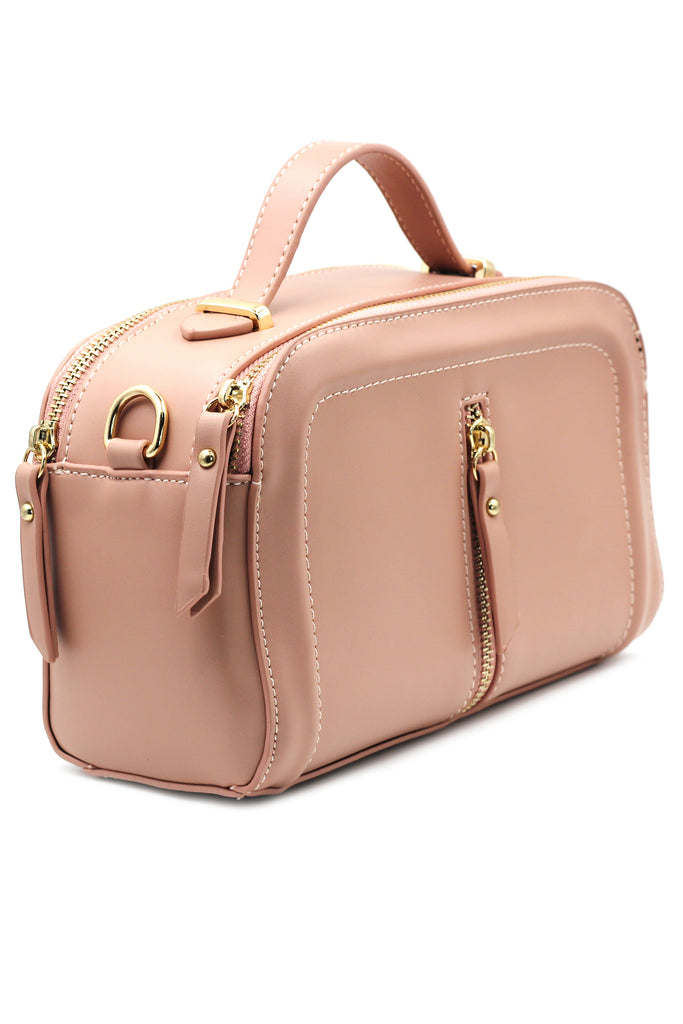 multi-compartment leather shoulder pillow purse