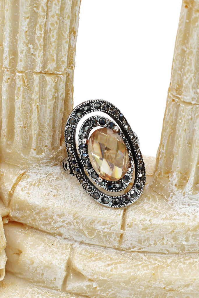 fashion revolve color crystal silver ring