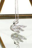 swan crystal pendant necklace