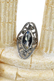 black crystal silver ring