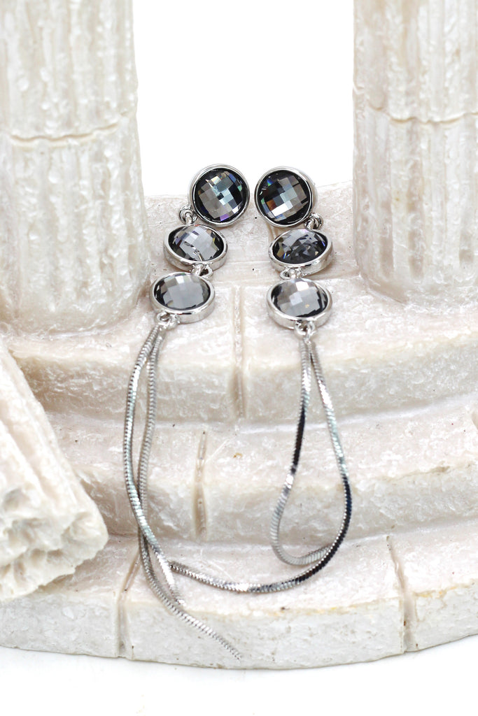 exaggerated tassels round crystal earrings