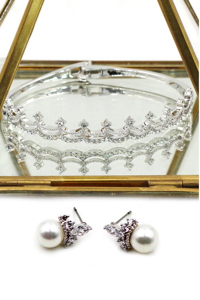 mini crown crystal earring bracelet set