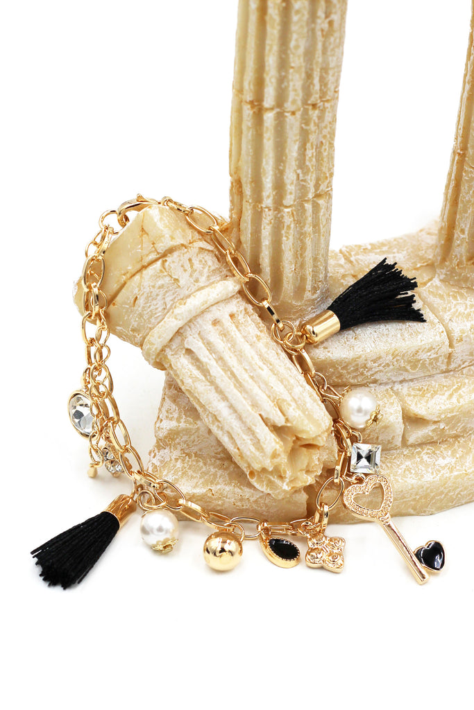 fashion heart-shaped key and tassel golden bracelet