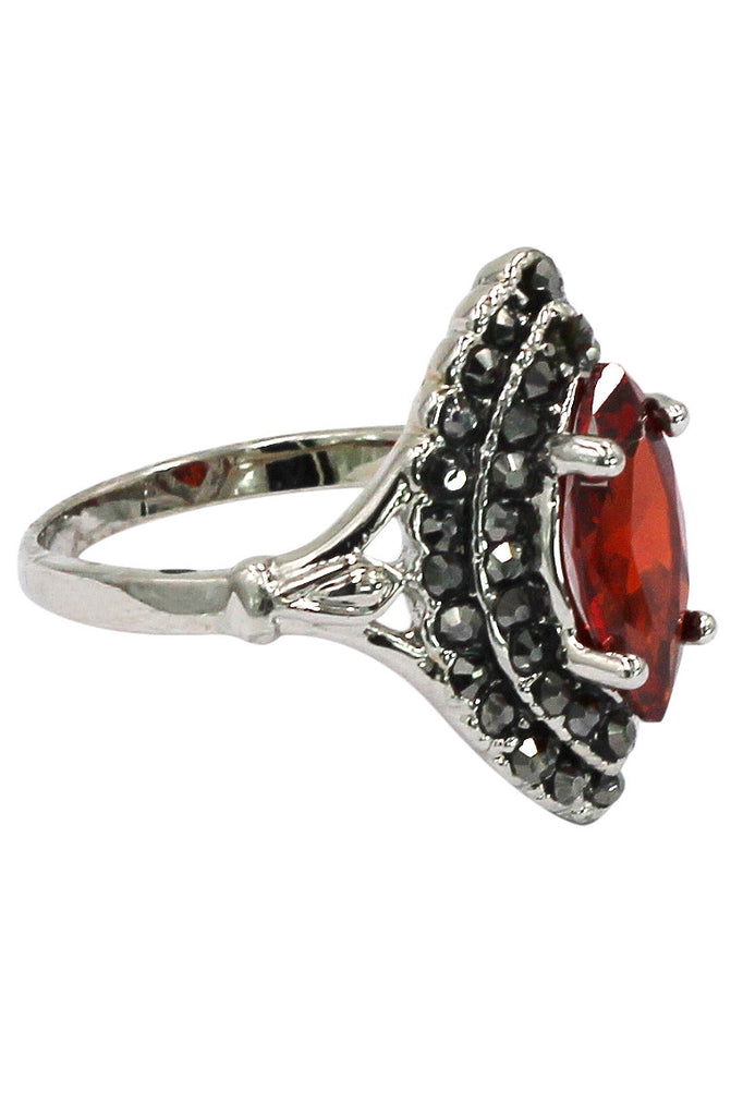current red crystal silver ring