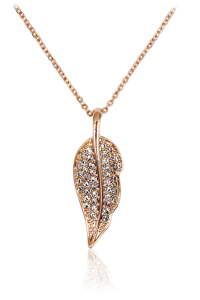 delicate leaves crystal necklace