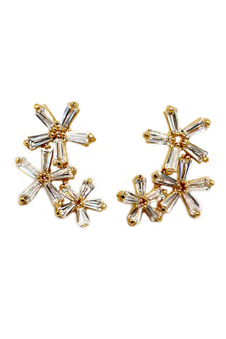Fashion Colorful starfish crystal small pearl earrings
