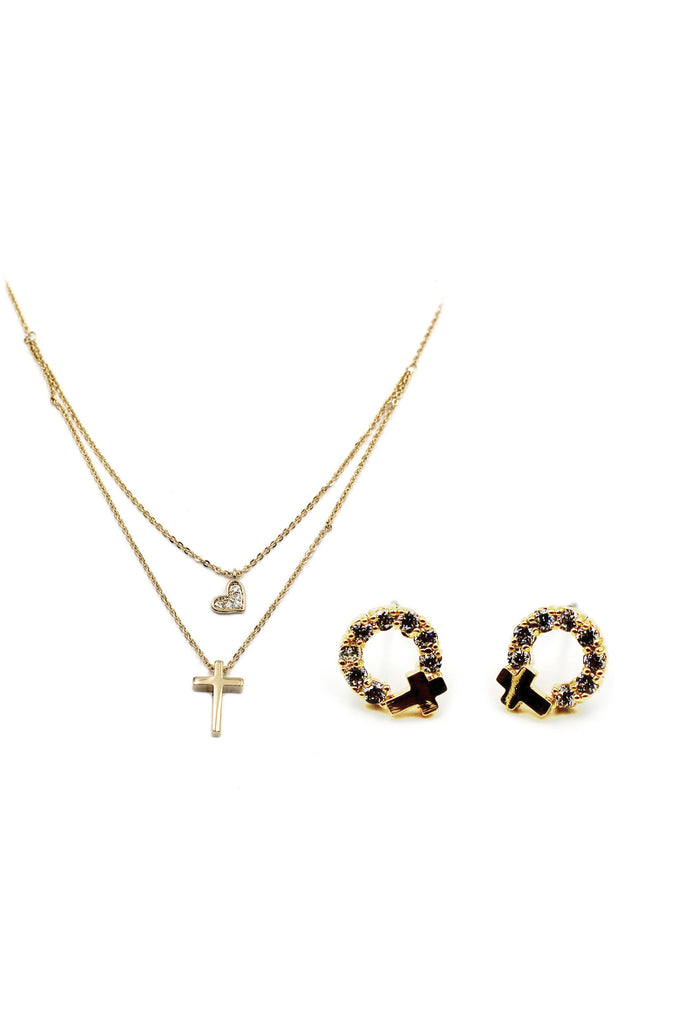 golden cross earrings necklace crystal set