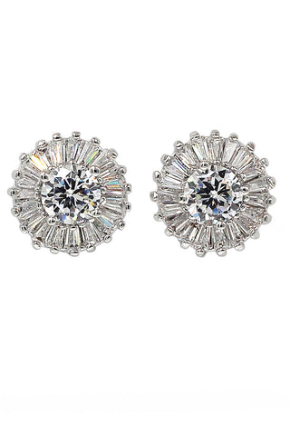 lovely bowknot circle crystal silver earrings
