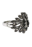 fashion jet hematite small crystal silver ring