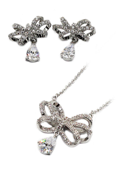 noble bowknot crystal pendant necklace earrings set