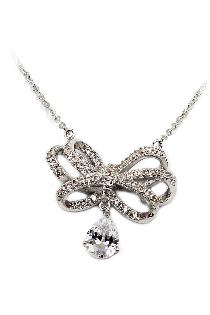 noble bowknot crystal pendant necklace