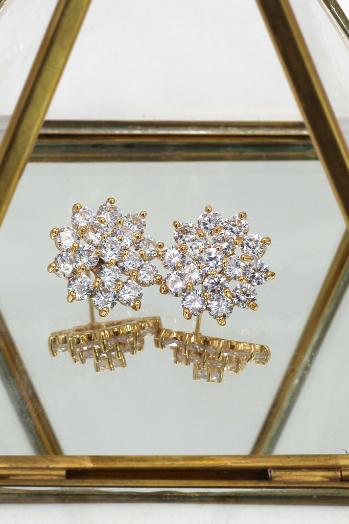 noble golden crystal flower earrings