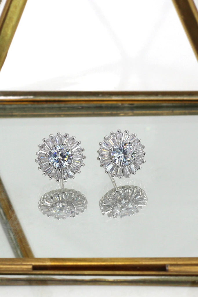 simple shiny crystal earring ring set