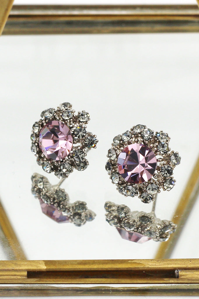 noble pink crystal earrings