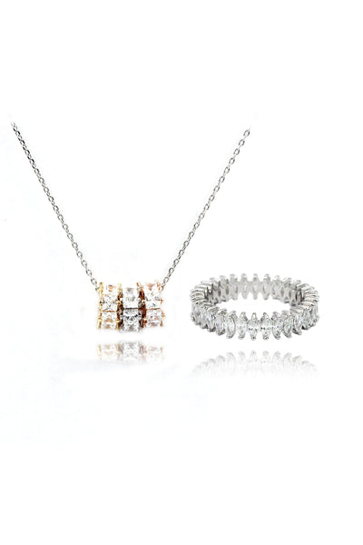 fashion lined crystal ring necklace set
