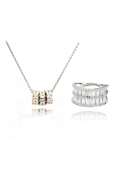 shimmering crystal Ring necklace set