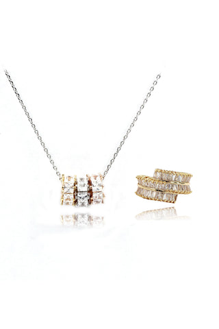 fashion circle crystal necklace earring set