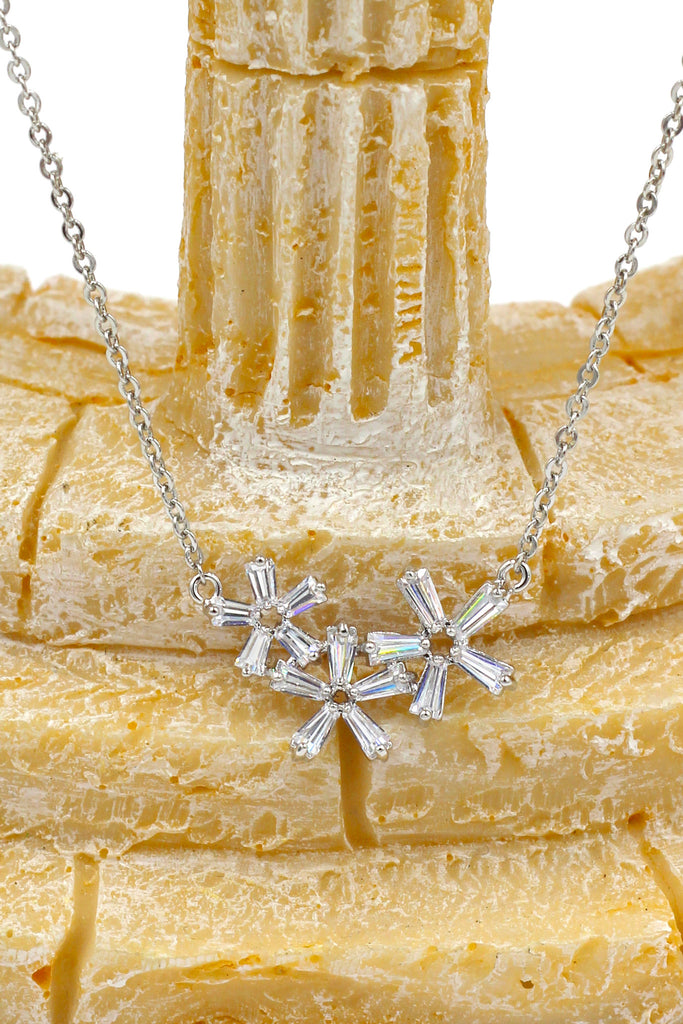 simple flowers crystal necklace earrings set